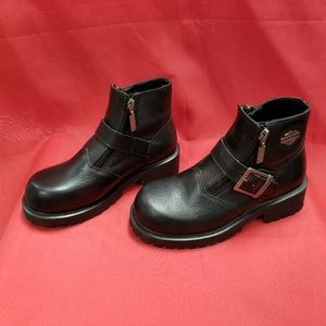 PO Harley Davidson Leather Ankle Boots